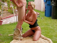 Glasses milf laid by big cock outdoors