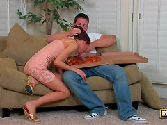 Lonely milf gets served by the pizza boy