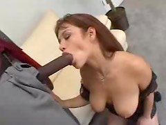 Black guy unzips so she can feast on his cock