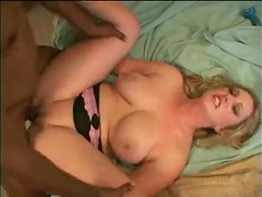 Passionate interracial with a chubby white girl