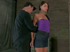 Having a gag in her mouth kinky Cassandra Nix gets tied up