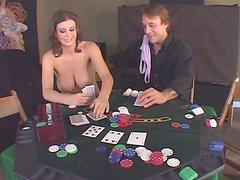 Full fugured brunette Sara Stone bets and loses her cunt in a poker
