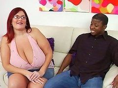 Skanky red head slut Peaches with huge body frame gives a head