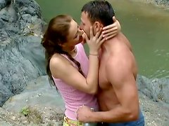 Sensual sex scene of Gilda Roberts outdoors
