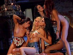 Sweet blonde is licking pussy of horny brunette