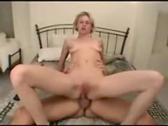 Skinny blonde moans and screams for anal