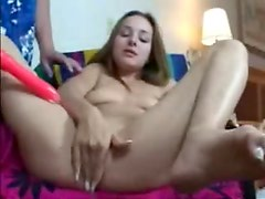 Her young pussy squirts during toy sex