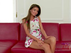 Naughty innocent looking teen beauty Sunshine with long hair and