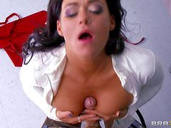 Amazing black haired young babe Crista Moore with big firm