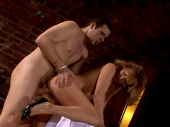 Mature hussy gets poked by aroused young waiter