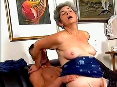 Grey haired slut Mrs Stevens enjoys riding a cock