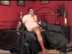 Gay hunk gets his feet and cock worshipped by cum loving slave