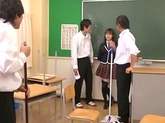 Hot Gangbang for Japanese School Girl in Glasses in the Classroom