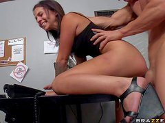 Dirty and turned on brunette school girl Madelyn Monroe gets