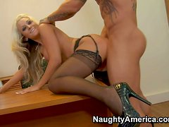 Amazing long haired blonde secretary Brandy Blair with steaming hot