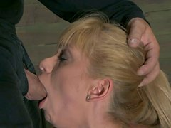 Bootylicious pale blondie Lea Lexis has to suck a cock while being tied up