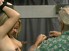 Slender blonde is getting humiliated by an old fart