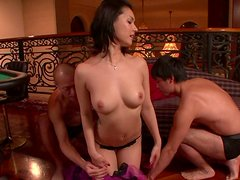 Maria Ozawa gets horny in the casino for a threesome
