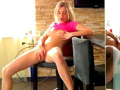 Alluring blonde Chloe Blue is demonstrating her sweet snatch