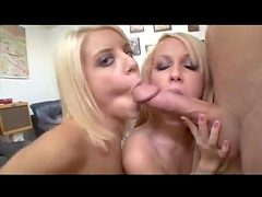 Young cute blondes suck big dick together