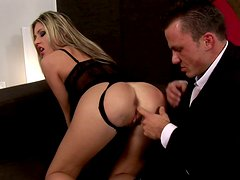 Classy Russian slut uses her tight asshole to please rich client
