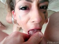 Cock down her throat makes her gag and spit