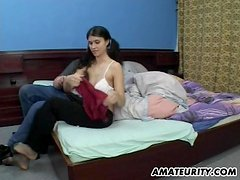 Amateur teen GF sucks and fucks with cum in mouth