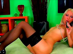 Horny blonde likes her new toys