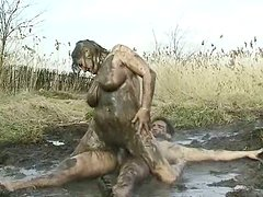 Sizzling mom Diane gets all covered with mud when being poked in reverse cowgirl style