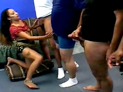 Nasty Indian mom sucks several dicks in a row