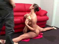 Flexible babe Jewel shows her skills in sucking dick action