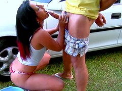 Curly brunette fairy with huge ass gets doggyfucked over the car
