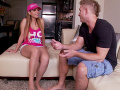 Dirty chick Yurizan Beltran seduces the guy and sucks his dick deepthroat