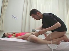 Petite Japanese chick Miki Asada gets pleased with high powered vibrator