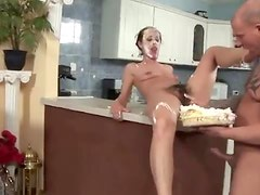 Hairy girl has cake on her face when she gets fucked