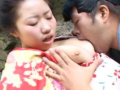 Lusty ovebient Japanese geisha Kotone Yamashita is molested outdoors