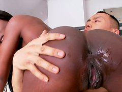 Classy ebony hooker with big ass Ana Fox rides thick Asian dick