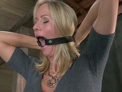 Talkative bitch Simone Sonay gets her hands tied up and has to suck a cock