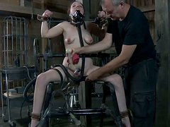 Filthy redhead hoe Maggie Mead gets milked in BDSM game