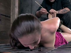 Casey Calvert is tortured in a BDSM video but she enjoys the action