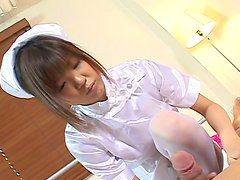 Weird teen chick Rika Hayama gives handjob and footjob to a guy