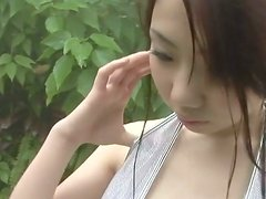 Horny pale skin Asian goddess Miho Takai shows off her melons