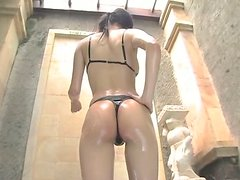 Lean and busty brunette Reon Kadena takes shower