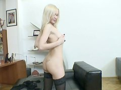 Cute blonde teen Logan A gets nasty and lets hte guy finger her muff