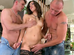 Smoking hot brunette gets served by two athletic hunks