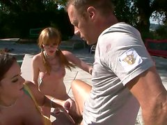 Young sluts blow the dick of Rocco Siffredi with whipped cream