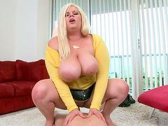 Fat hoochie Tiffany Blake tries to ride a dick but she is good for doggy style