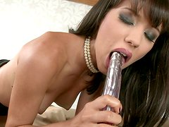 Black haired nasty bitch Aspen pets her holes with metal vibrator