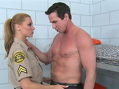 Dirty warden Cindy Hope strips in front of the convict and sucks his dick in his cell