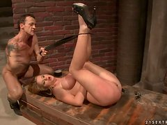 Adorable Natasha Brill sucks a cock and gets fucked in BDSM